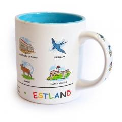 Mug with Estonian symbols