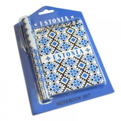 Notepad and pen with national ornaments