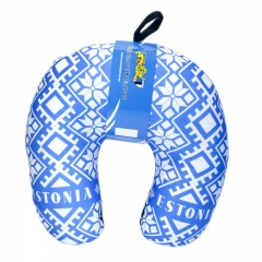 Travel pillow with national ornaments